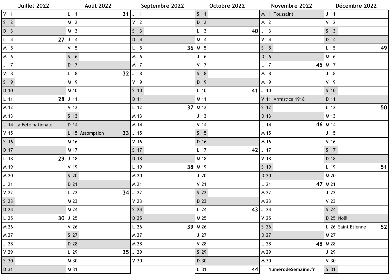 Calendrier 2eme Semestre 2022 Calendrier 2022, 2ème semestre
